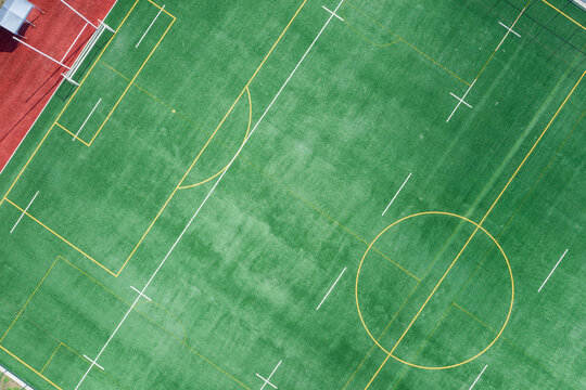Top view of football field.