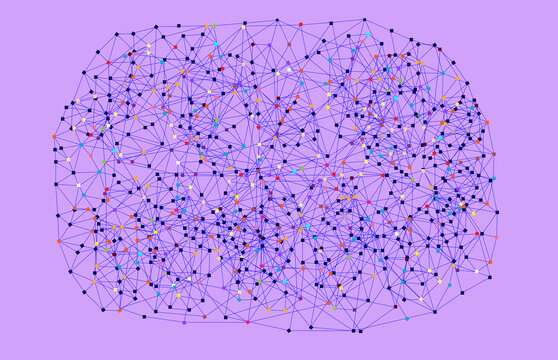 Colorful Web Network on Lilac Background