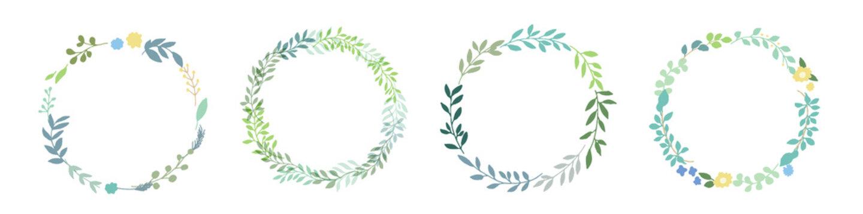 手描きタッチの様々な草木と葉っぱのリースフレームイラスト vector botanical illustration elements  frame