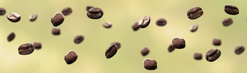 coffee beans floating on a yellow background