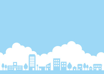 街並みと青空の背景
