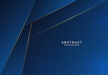 Obraz Modern dark luxury blue paper background with 3d layered line triangle texture for website, business card design. Vector illustration - fototapety do salonu