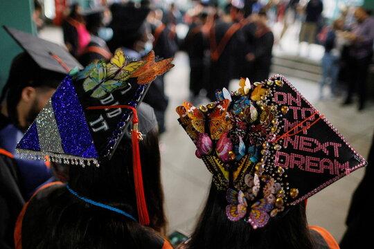 Brighton High School holds its graduation at Fenway Park In Boston