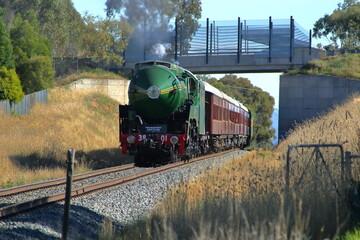 Locomotive #3801 - steam train, historical train leaving Albury, NSW, Australia.