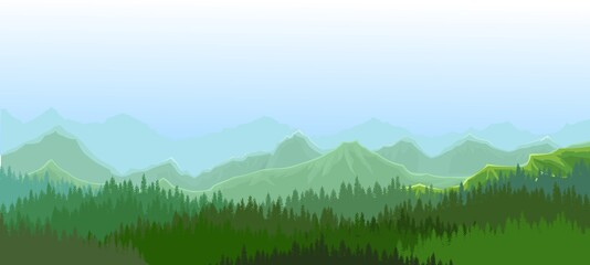 Foggy morning in coniferous forest. Silhouettes of trees. Wild hilly landscape. Mountains. Pine, cedar. Landscape is horizontal. Illustration vector