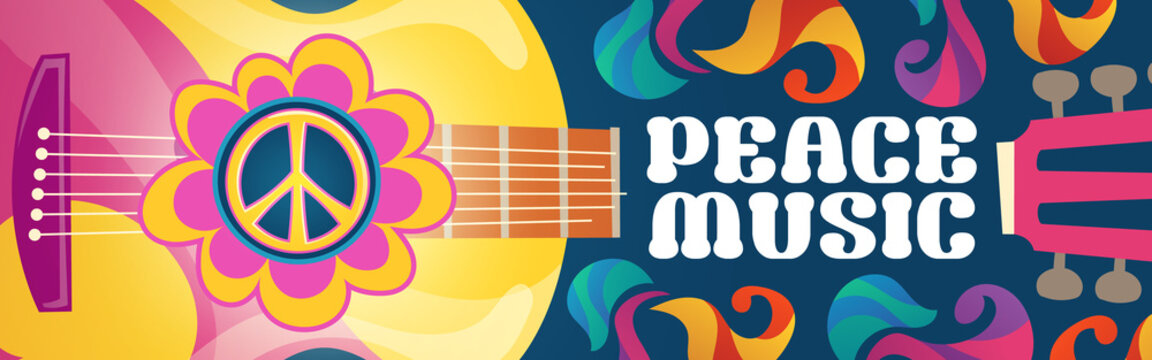 Hippie music cartoon banner with acoustic guitar and peace symbol on colorful ornate psychedelic background. Rock-n-roll hippy musical disco party, pop concert, festival live event Vector retro design
