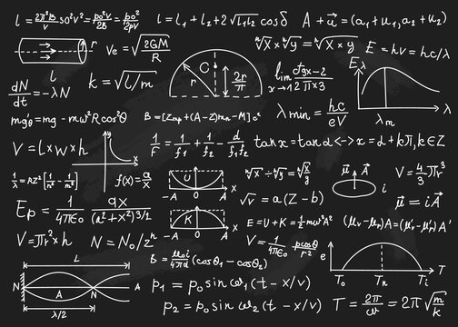 Physics formulas. Mathematical equations, physics theories, arithmetic calculations. Blackboard with scientific formulas vector background. Education, learning at university or school