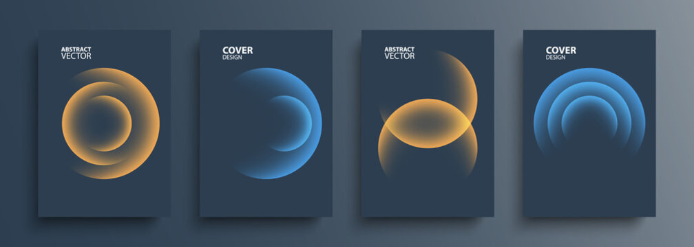 Cover templates set with vibrant gradient round shapes. Futuristic abstract backgrounds with planet sphere for your graphic design. Vector illustration.