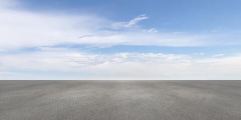 Blue Sky Summer Horizon Cloudscape Background Scene with Textured Concrete Floor