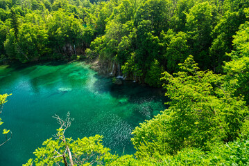 """""""Plitvice"""" Lake with waterfall in HDR Croatia Europe National Park Wall mural"""