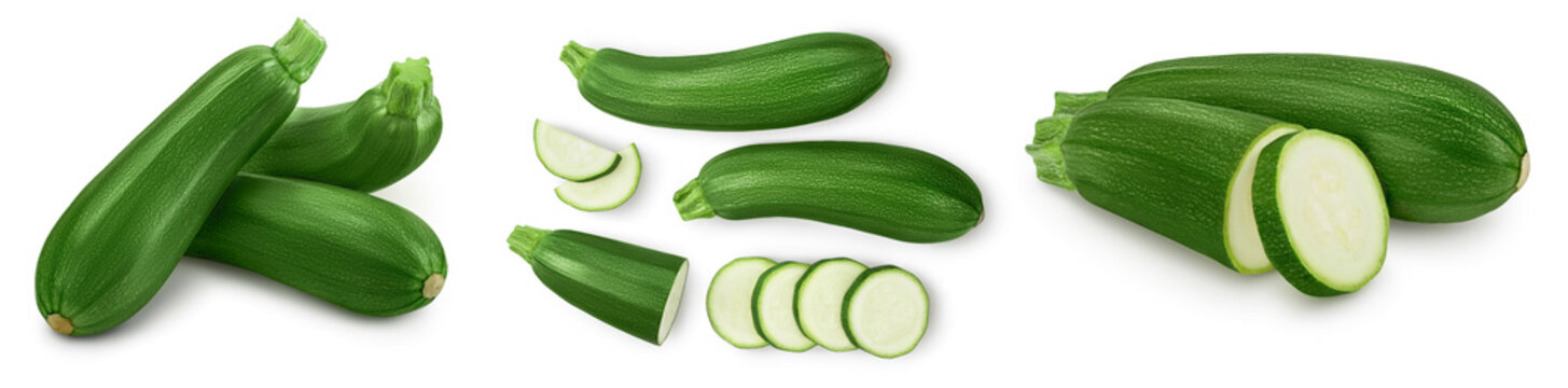Fresh whole zucchini isolated on white background with clipping path and full depth of field. Set or collection