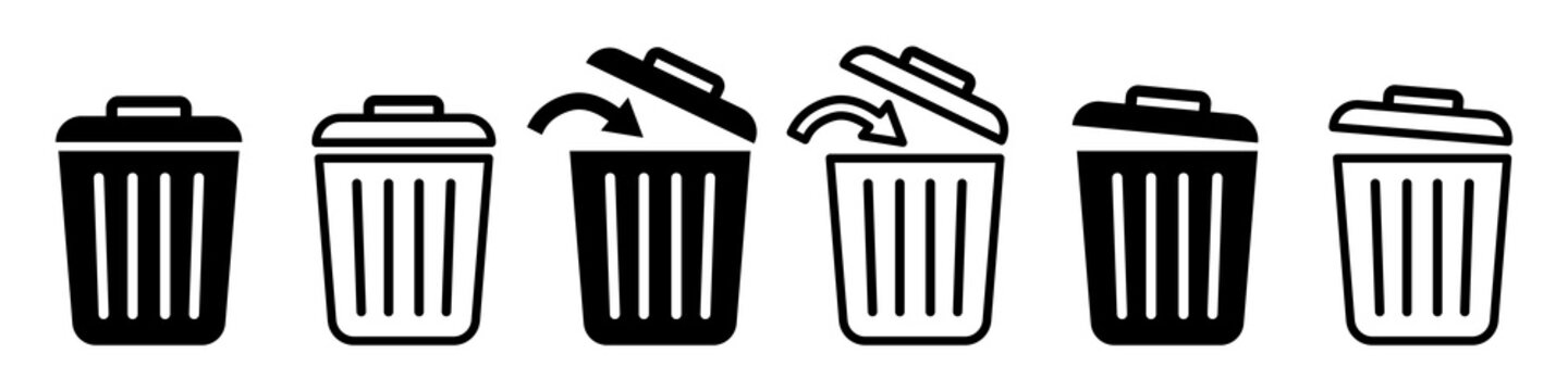 Set of trash cans icons. Trash can sign. Office trash icon. Trash can with arrow. Vector Illustration.