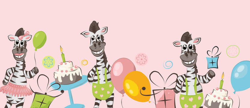 Colored border of zebra, cake, balloons and gifts