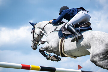 Equestrian Sports photo themed: Horse jumping, Show Jumping, Horse riding.