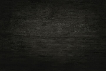 Obraz Black wooden wall background, texture of dark bark wood with old natural pattern for design art work, top view of grain timber. - fototapety do salonu