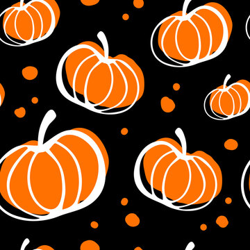 Seamless pattern with orange pumpkins with a white outline and dots on a black background. Pattern for thanksgiving, halloween, gift wrapping, restaurant, cafe, kitchen