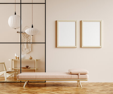 Minimalist boho home interior mockup, living room in pastel colors, 3d render