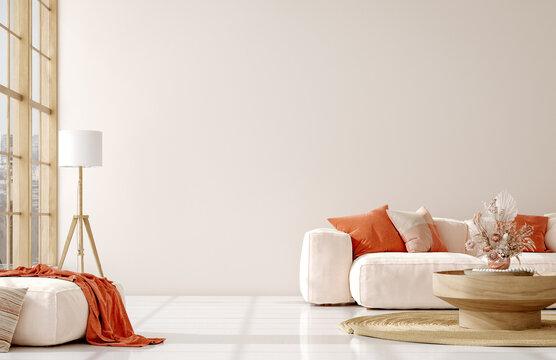 Home mockup in living room interior background,  3d render