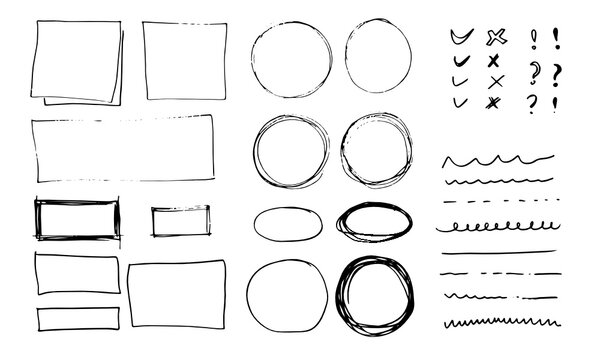 Doodle vector lines and curves.Hand drawn check and arrows signs. Set of simple doodle lines, curves, frames and spots. Collection of pencil effects. Doodle border. Simple doodle set.