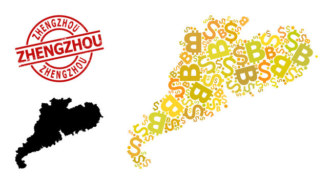 Grunge Zhengzhou seal, and bank collage map of Guangdong Province. Red round seal has Zhengzhou caption inside circle. Map of Guangdong Province collage is created with currency, dollar,