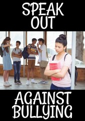 Fototapeta Composition of anti bullying text with sad schoolgirl in school in background obraz