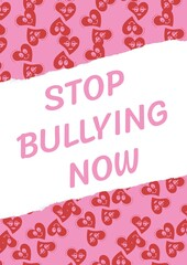 Fototapeta Composition of anti bullying text with hearts on pink and white background obraz