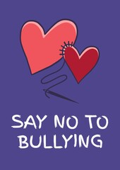 Fototapeta Composition of anti bullying text with two hearts on purple background obraz