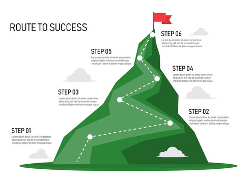 Six step mountain infographic. Path to top of mountain. Business strategy to success. climbing route to goal. business and achievement concept. vector illustration in flat style modern design.