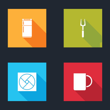 Set Refrigerator, Barbecue fork, Ventilation and Coffee cup icon. Vector