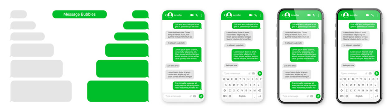 Realistic smartphone with messaging app. Blank SMS text frame. Conversation chat screen with green message bubbles. Social media application. Vector illustration.