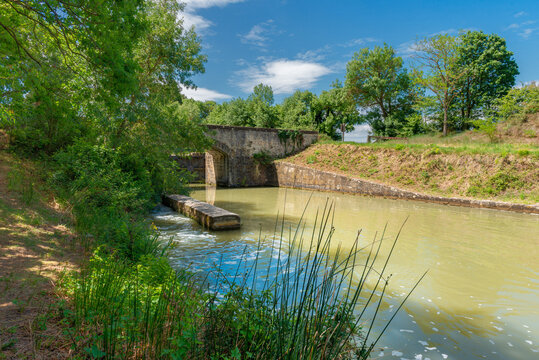 The scenic view of the Ecluse Saint Martin on the Canal du Midi, in the South of France