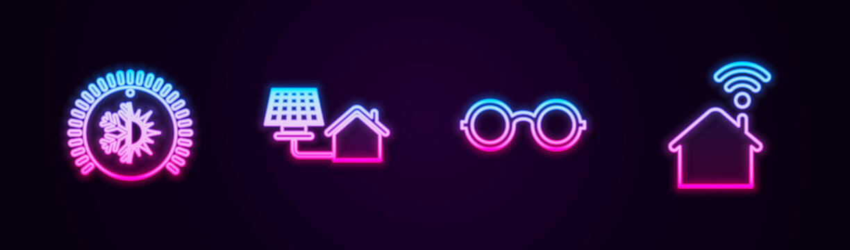 Set line Thermostat, House with solar panel, Glasses and Smart home wi-fi. Glowing neon icon. Vector