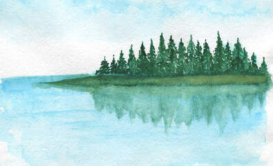 Watercolor clipart, Mountains lake trees clouds travel painting landscape watercolor wall art.Watercolor clipart Mountains, Summer camping .