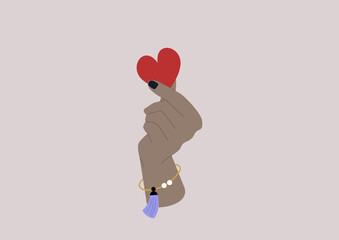 Sexual consent theme, a hand holding a paper red heart, emotions and feelings in love relationships