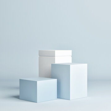 Mockup abstract geometry podium for product presentation, 3d render, 3d illustration.