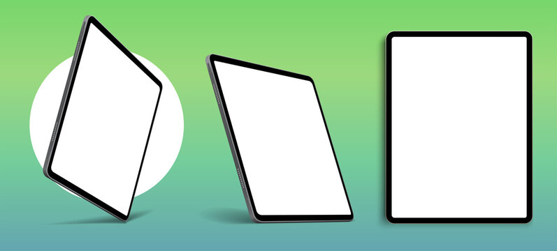 Blank screen realistic tablet frame, rotated position, side view, top view. The tablet is at different angles. Layout of a universal set of devices. UI, UX Template for infographics or presentation.