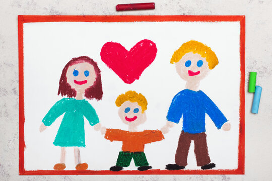 Colorful drawing:  Happy smiling family. Mother, father and their son.