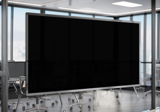 Panoramic frame Mockup hanging on office glass window. Mock up of a billboard in modern company interior