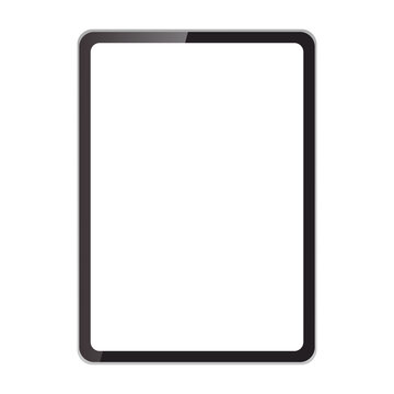 透明な黒いタブレットコンピューターのベクターイラスト(モックアップ、空白)