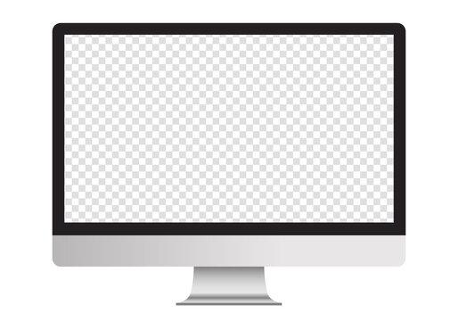 リアルなデスクトップコンピューターのベクターイラスト(モックアップ、空白、透明)