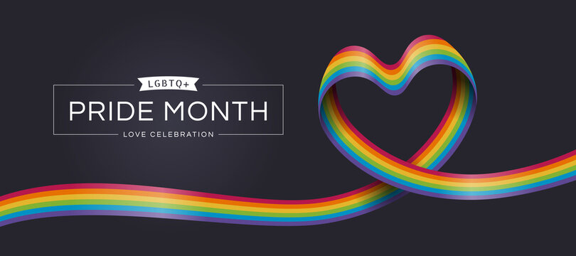 LGBTQ Pride month love celebration text and rainbow pride ribbon roll make heart shape on dark background vector design