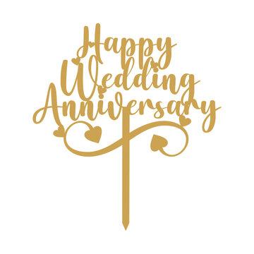 Wedding Anniversary Cake Topper Vector
