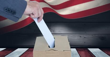 Samenstelling van de man die zijn stem uitbrengt in de stembus tegen de Amerikaanse vlag