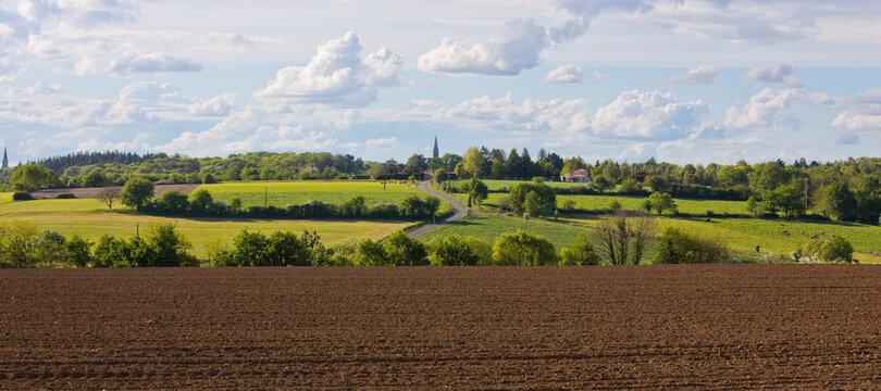 Paysage de campagne en Anjou, France.