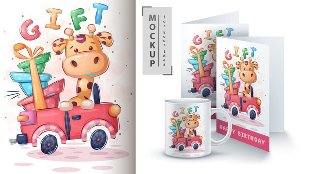 Giraffe car - poster and merchandising.