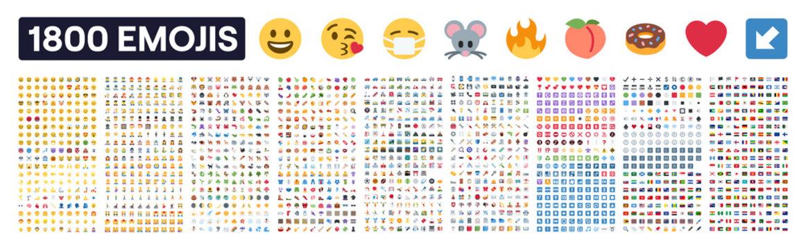 Emoji collection vector set. Twemoji icon set. Isolated emoticon symbol on white background. Social network emote pack : 1800 signs. Editorial vector illustration.