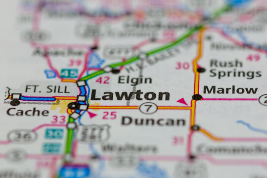 06-15-2021 Portsmouth, Hampshire, UK, Lawton Oklahoma USA shown on a Geography map or road map