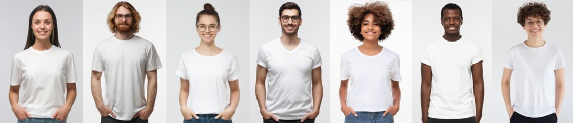 Fototapeta White t-shirt people. Collage of many men and women wearing blank tshirt with copy space for your text or logo obraz