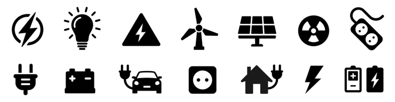 Electricity icon set. Collection of green energy icons. Icons for renewable energy, green technology. Flat style icon. Environmental sustainability simple symbol - stock vector.