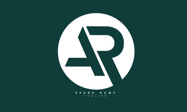 Alphabet letters Initials Monogram logo AR, RA, A and R